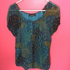 M Blue Green Peacock Mandala Blouse Boho Top Shirt